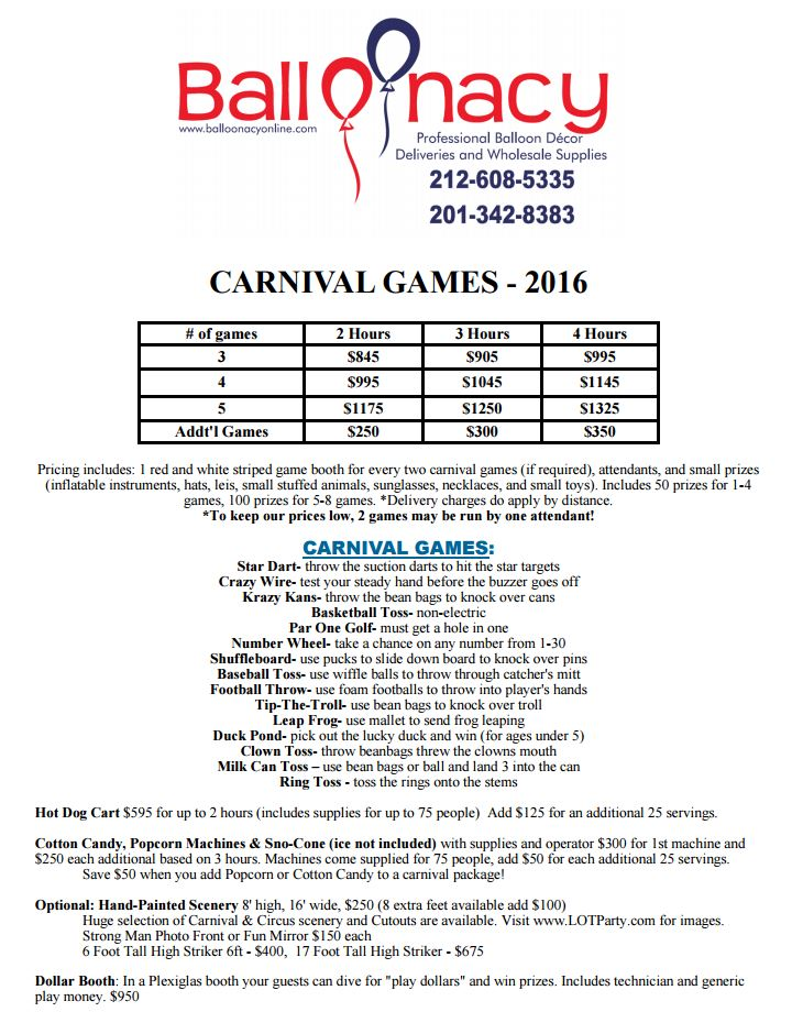 Balloonacy Carnival Games PDF